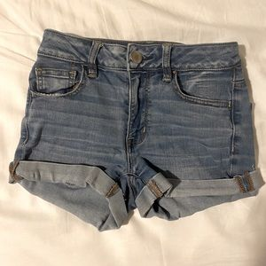 ae high waisted denim shorts